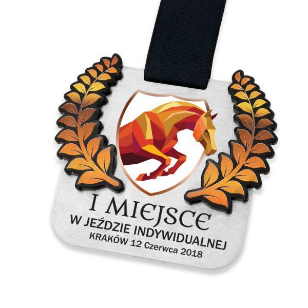 Metalowy medal z nadrukiem jazda konna z wkładką