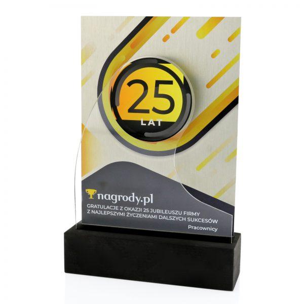 Statuetka z okazji 25-lecia firmy z nadrukiem dedykacji