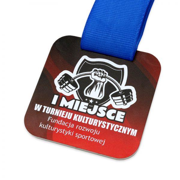 Metalowy medal nadrukowany na zawody kulturystyczne