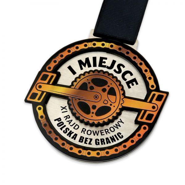 Metalowy medal z nadrukiem na zamówienie na rajd rowerowy