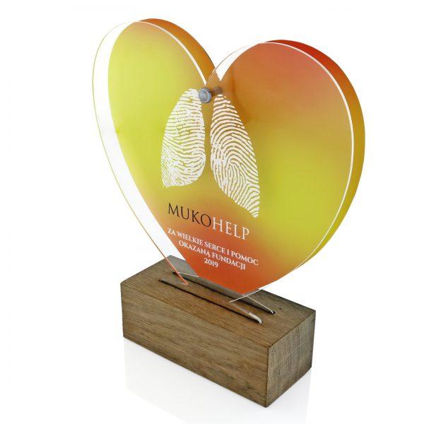 Statuetka w kształcie serca z nadrukiem podziękowań