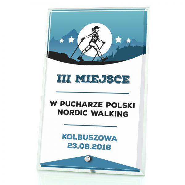 Szklana statuetka z nadrukiem na zawody nordic walking