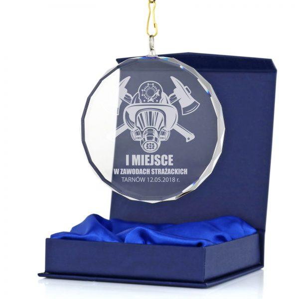 Medal szklany z grawerem na zawody strażackie