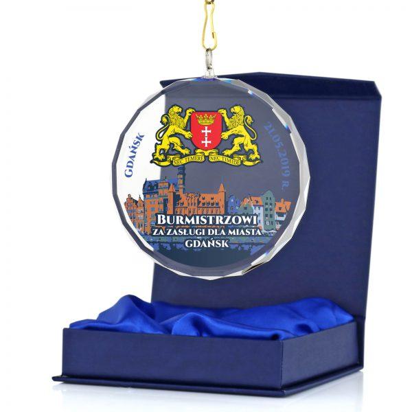 Szklany medal z kolorowym nadrukiem dla prezydenta miasta