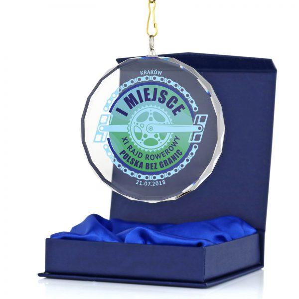 Medal ze szkła z nadrukiem na rowerowy rajd w etui