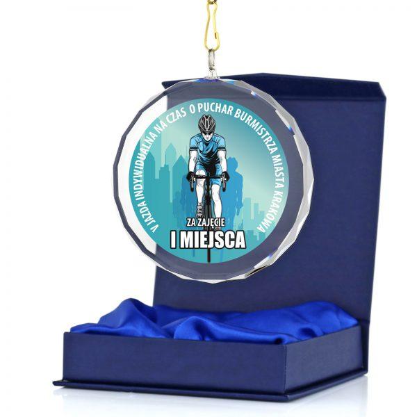 Szklany medal na zawody kolarskie i rowerowe