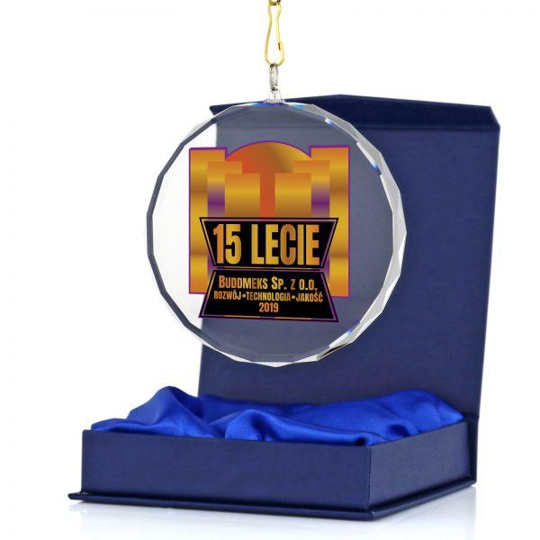 Medal szklany z kolorowym nadrukiem na 15-lecie firmy