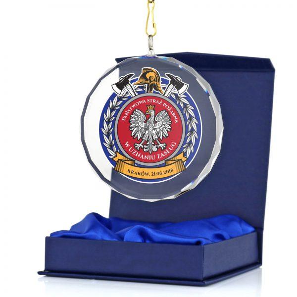 Medal szklany z nadrukiem za udział w mistrzostwach Państwowej Straży Pożarnej