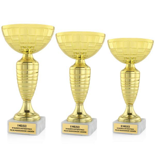 Zestaw złotych pucharów z grawerem na halowe mistrzostwa piłki nożnej