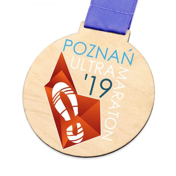 Medal ze sklejki z kolorowym nadrukiem na maraton biegowy