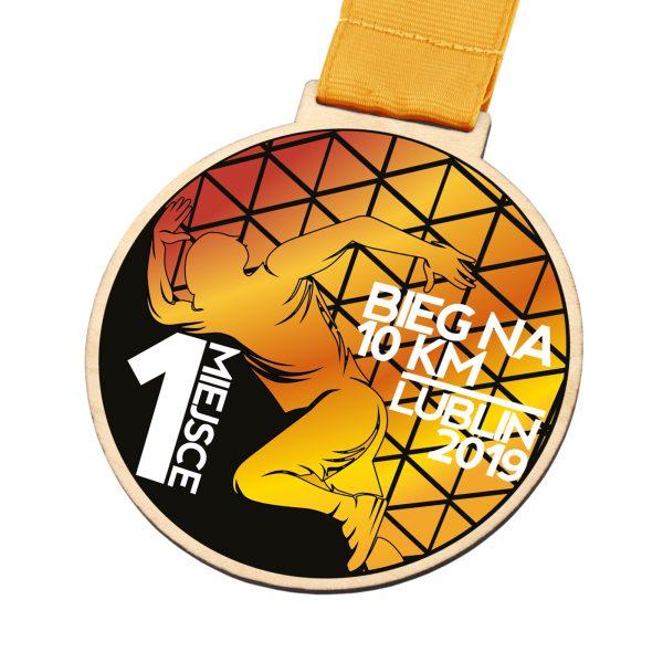 Drewniany medal z nadrukiem na bieg wytrzymałościowy na 10 km