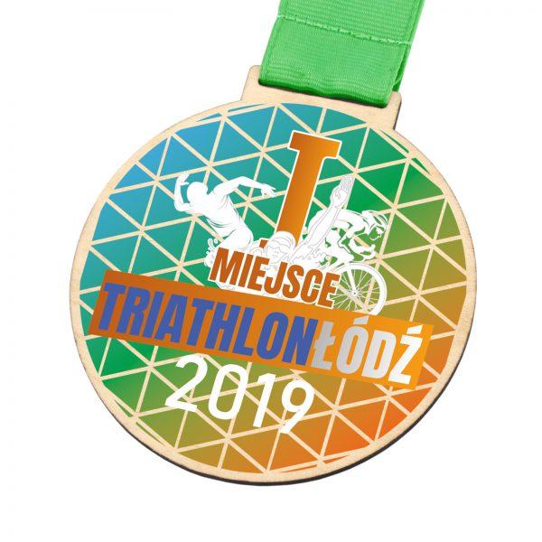 Medal z kolorowym nadrukiem ze sklejki na triathlon