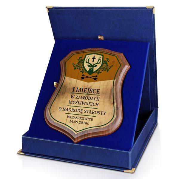 Certyfikat na drewnianym podkładzie w etui na zawody łowieckie