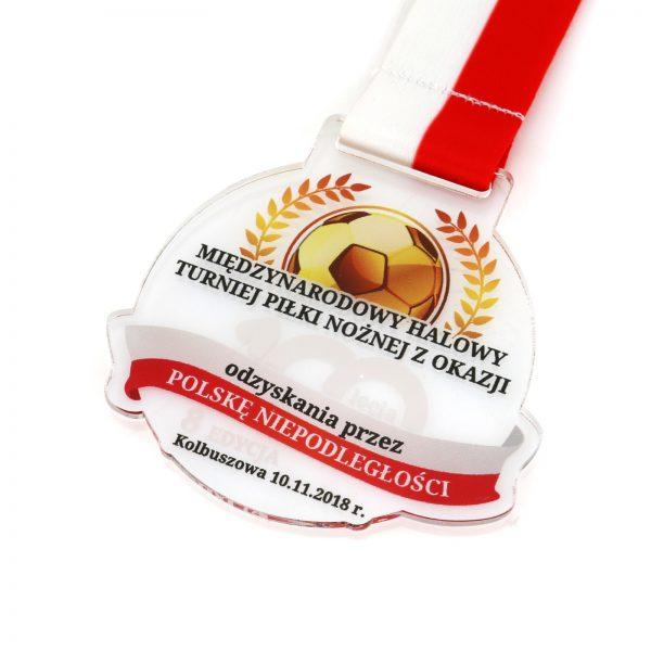 Medal z pleksi z kolorowym nadrukiem na turniej piłki nożnej