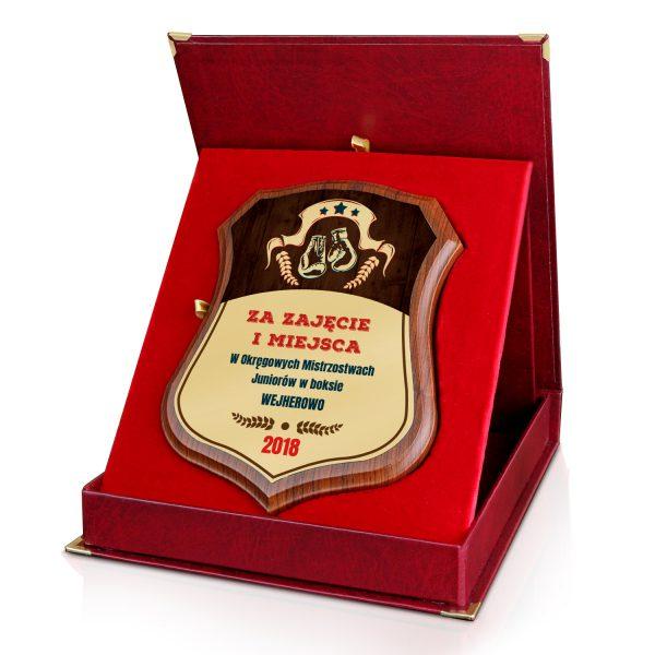 Certyfikat z kolorowym nadrukiem w czerwonym etui na zawody bokserskie
