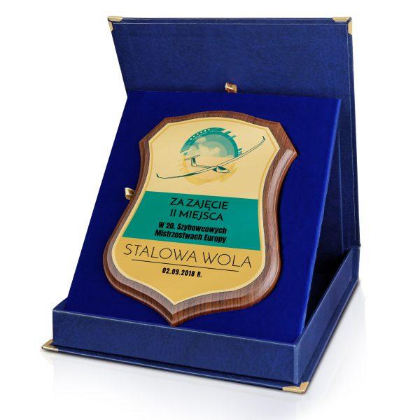 Certyfikat w niebieskim etui z nadrukiem na zawody szybowców