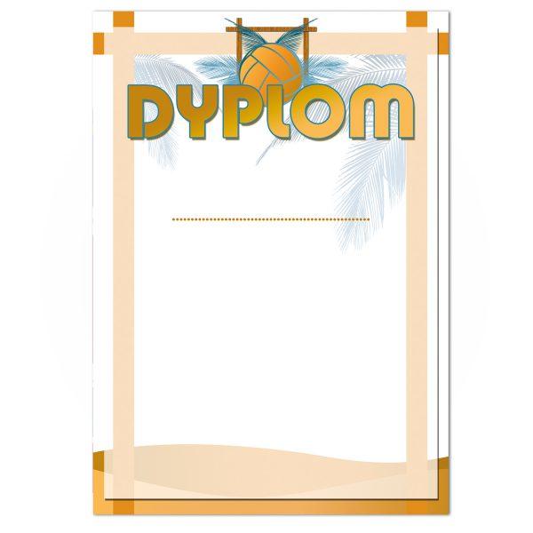 Dyplom A4 z nadrukiem na turniej siatkówki plażowej