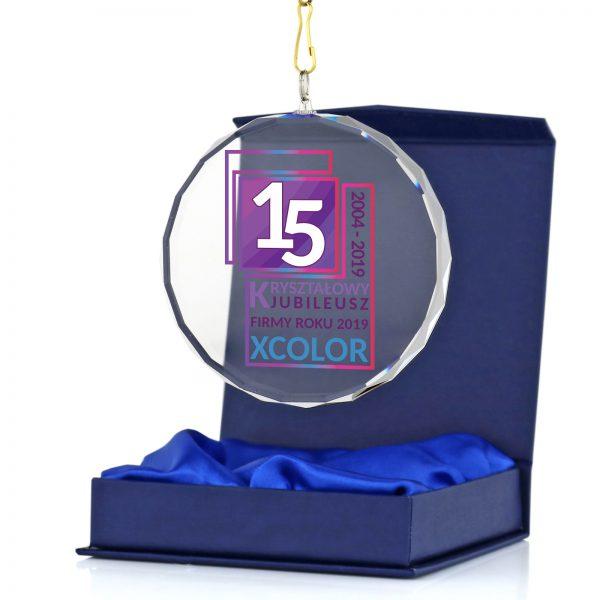 Szklany medal z kolorowym nadrukiem na jubileusz firmy