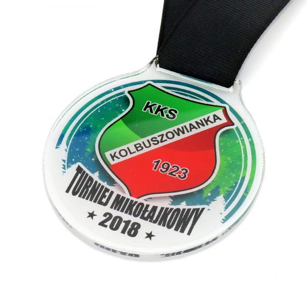 Medal z przeźroczystej pleksi na turniej piłkarski