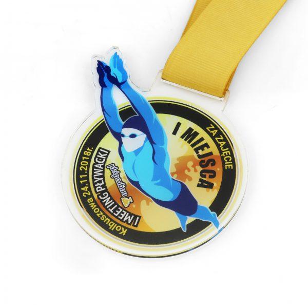 Medal z kolorowym nadrukiem na zawody pływackie