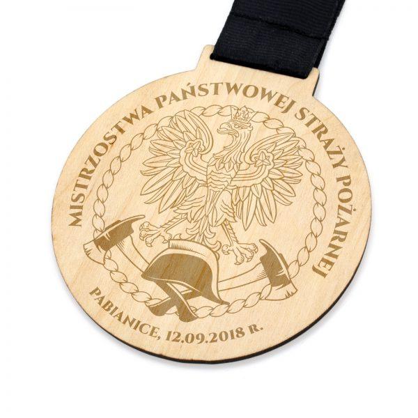 Okolicznościowy medal ze sklejki na zawody strażackie