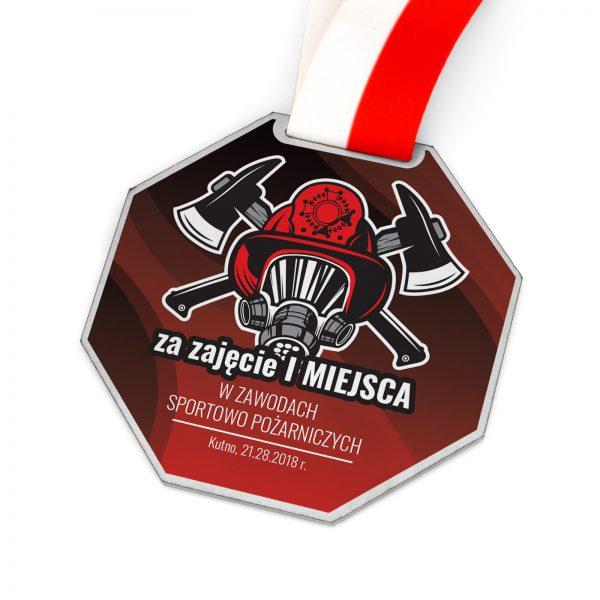 Metalowy medal z nadrukiem na zawody sportowo-pożarnicze
