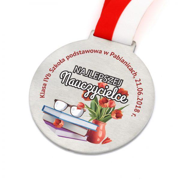 Medal z kolorowym nadrukiem dla najlepszego nauczyciela