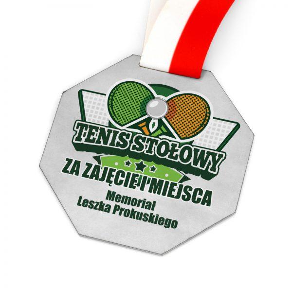 Metalowy medal z nadrukiem na turniej tenisa stołowego