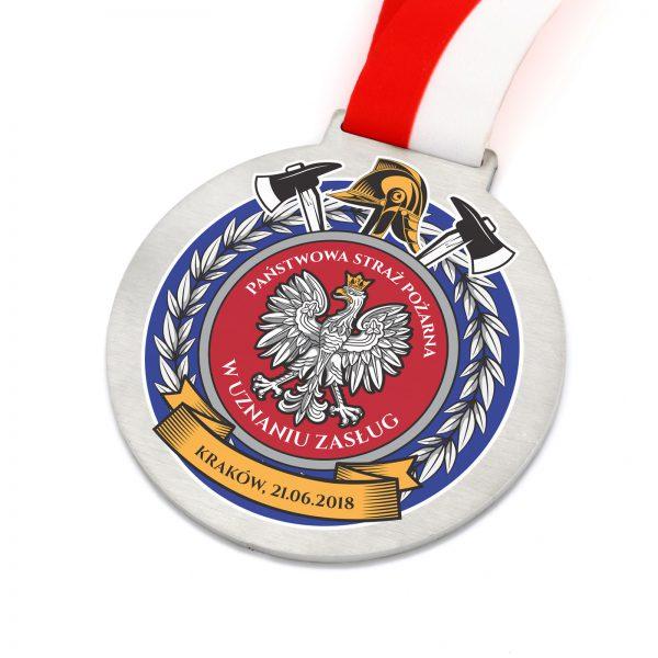 Metalowy medal z kolorowym nadrukiem za zasługi dla straży pożarnej
