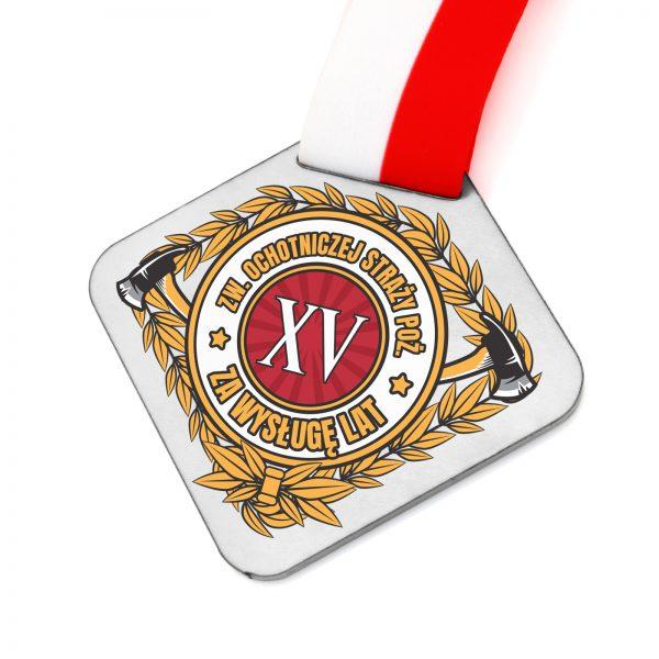 Medal z metalu za zasługi dla strażaka z nadrukiem