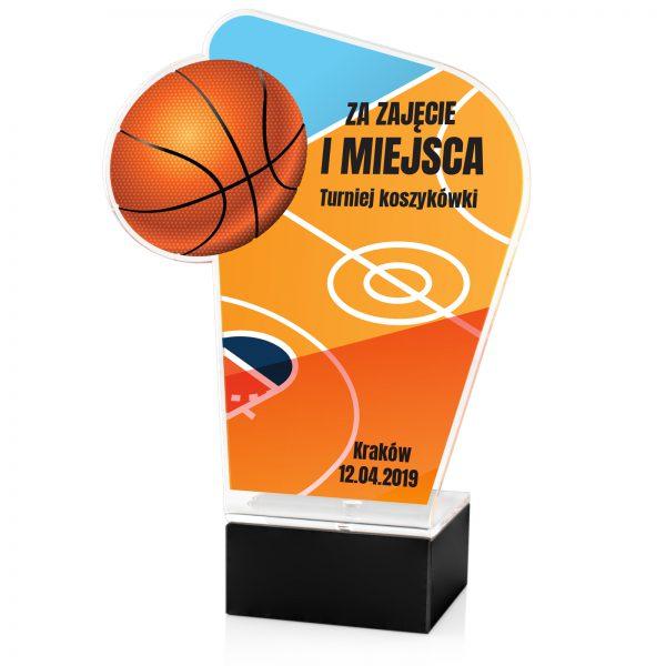 Statuetka na postumencie na turniej koszykówki z nadrukiem