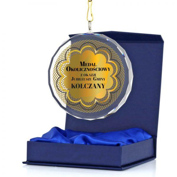 Szklany medal okolicznościowy na Jubileusz Gminy