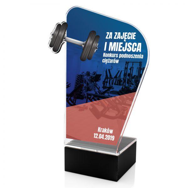 Statuetka na postumencie z nadrukiem na turniej podnoszenia ciężarów