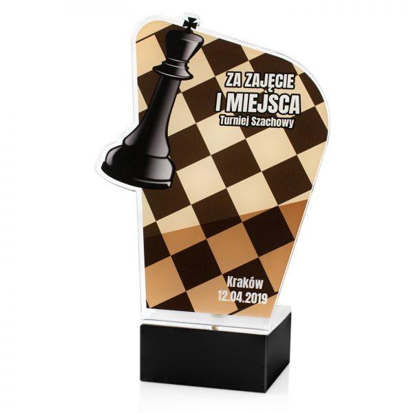 Statuetka z pleksi na marmurowym postumencie na turniej szachowy