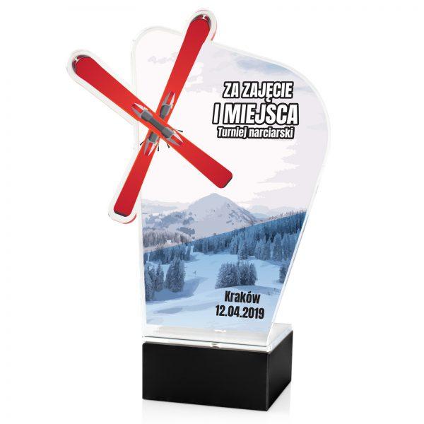 Statuetka sportowa z pleksi na zawody narciarskie