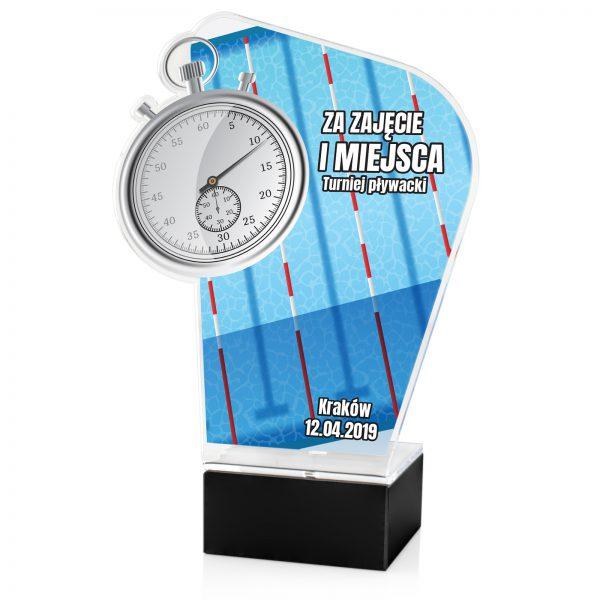 Statuetka na postumencie z kolorowym nadrukiem na turniej pływacki