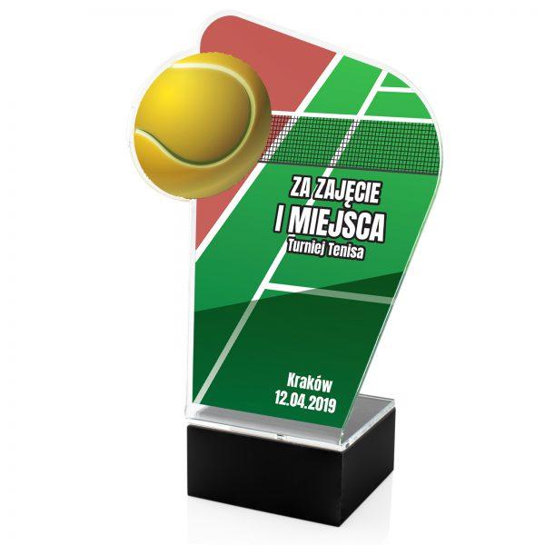 Statuetka z pleksi z kolorowym nadrukiem na turniej tenisa