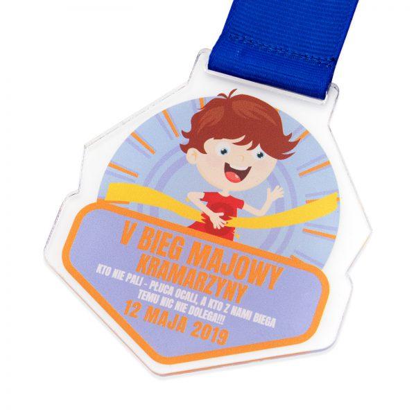 Medal z pleksi z kolorowym nadrukiem na zawodu biegowe