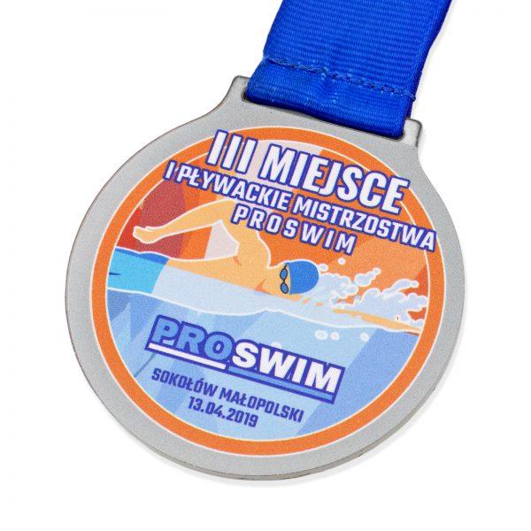 Metalowy medal z nadrukiem na zawody pływackie