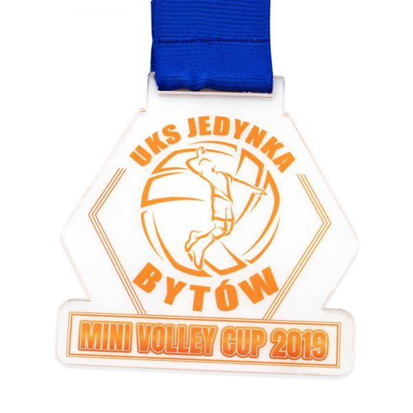 Transparentny medal z pleksi na zawody w piłce siatkowej