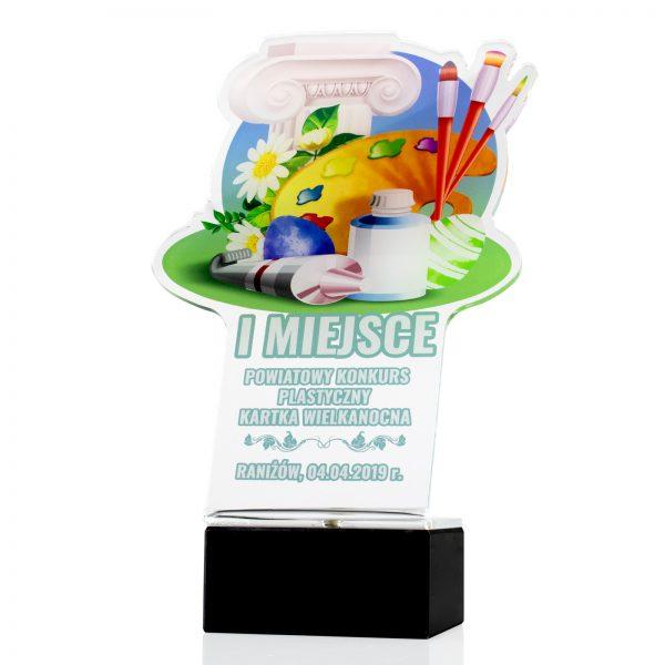 Statuetka z pleksi na marmurowym postumencie z nadrukiem na powiatowy konkurs plastyczny