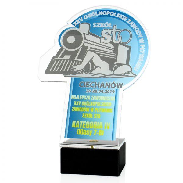 Statuetka z nadrukiem na marmurowym postumencie dla najlepszej zawodniczki w zawodach pływackich