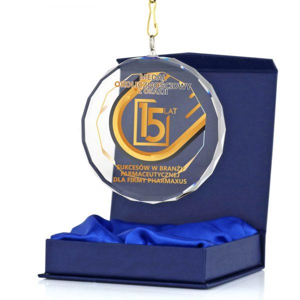 Okolicznościowy medal szklany z okazji Jubileuszu 15 lat firmy