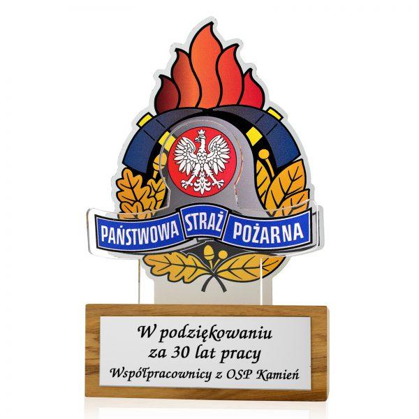 Statuetka na drewnianym postumencie z nadrukiem dla strażaka