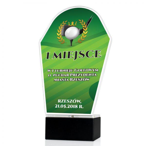 Statuetka z pleksi z kolorowym nadrukiem na turniej golfowy