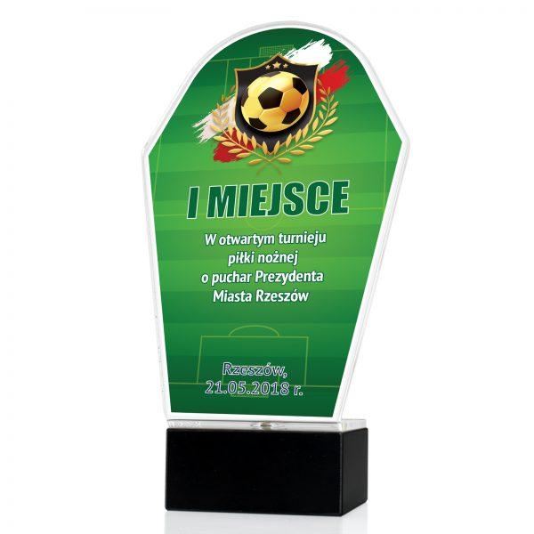 Statuetka z pleksi z kolorowym nadrukiem na turniej piłki nożnej o puchar prezydenta miasta