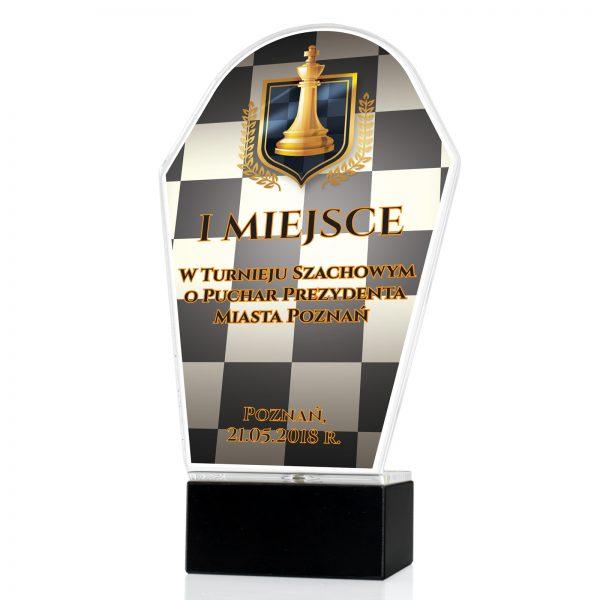 Statuetka z nadrukiem wykonana z pleksi na turniej szachowy o puchar prezydenta miasta