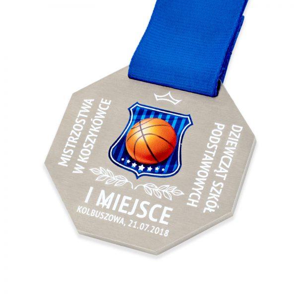 Medal z metalu z nadrukiem na zawody w koszykówce
