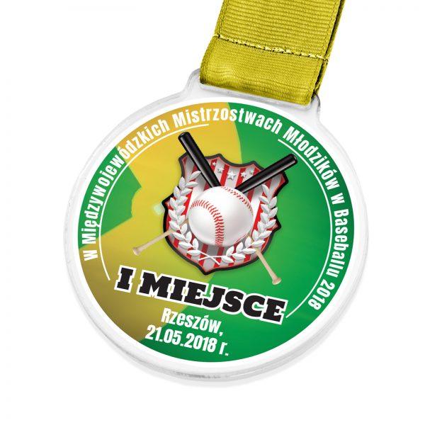 Medal z pleksi za udział w mistrzostwach młodzików w baseballu