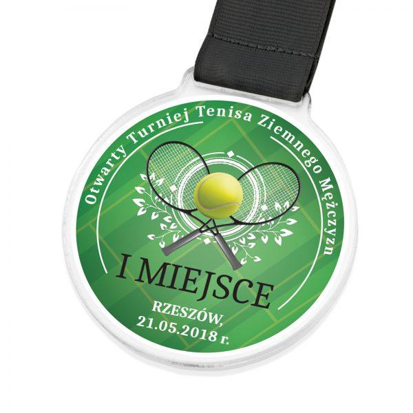 Medal z przeźroczystej pleksi na turniej tenisa ziemnego mężczyzn